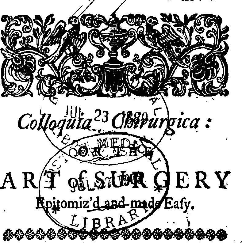 file colloquia chirurgica or the art of surgery epitomiz d and Word Surgery file colloquia chirurgica or the art of surgery epitomiz d and made