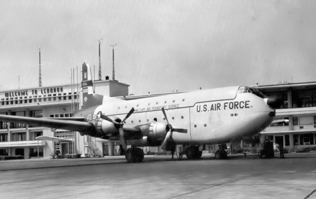 C-124 on the ramp at Beirut Airport, Lebanon, 1958