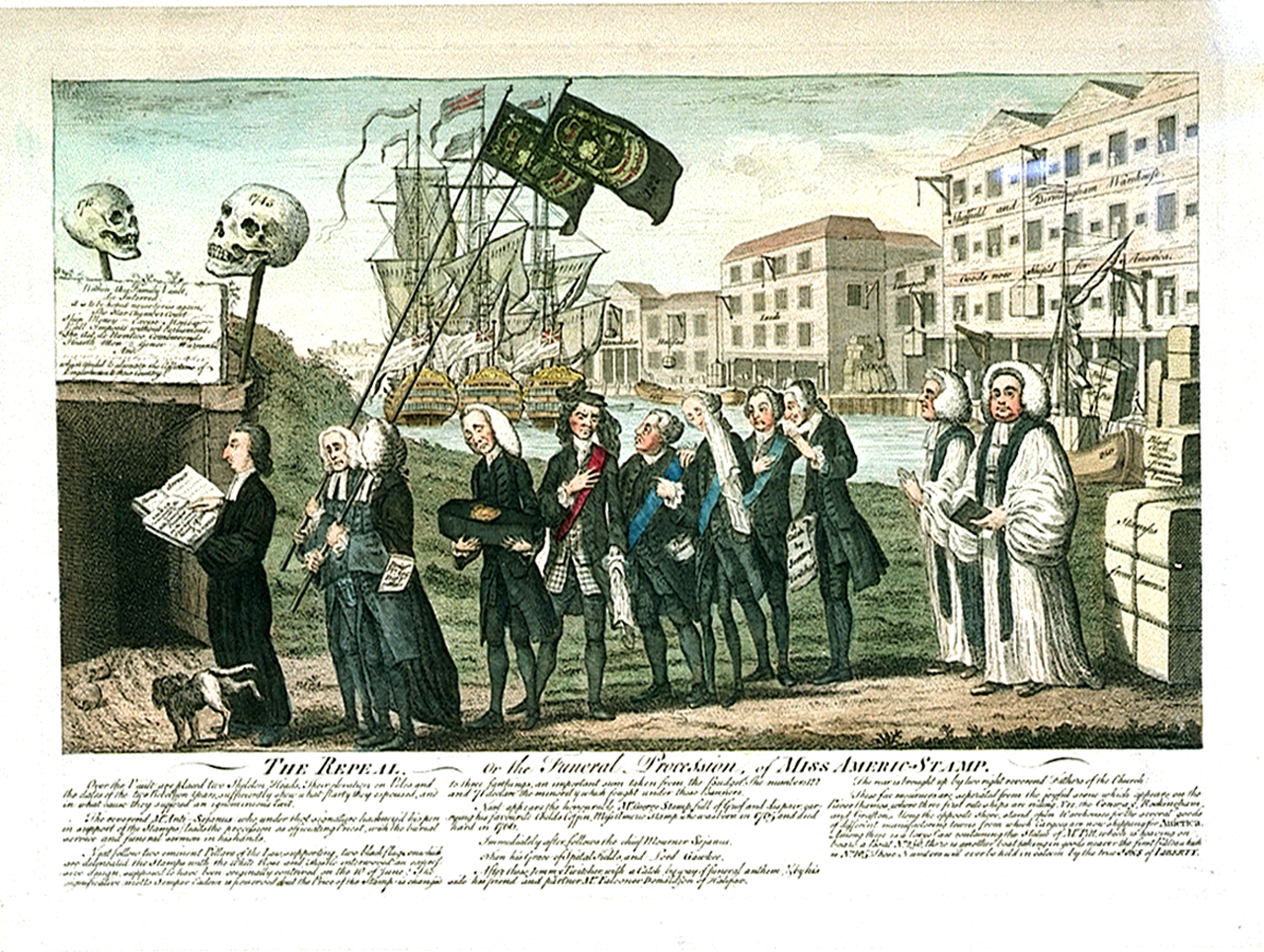 The Repeal, 1760s political cartoon depicting the repeal of the Stamp Act