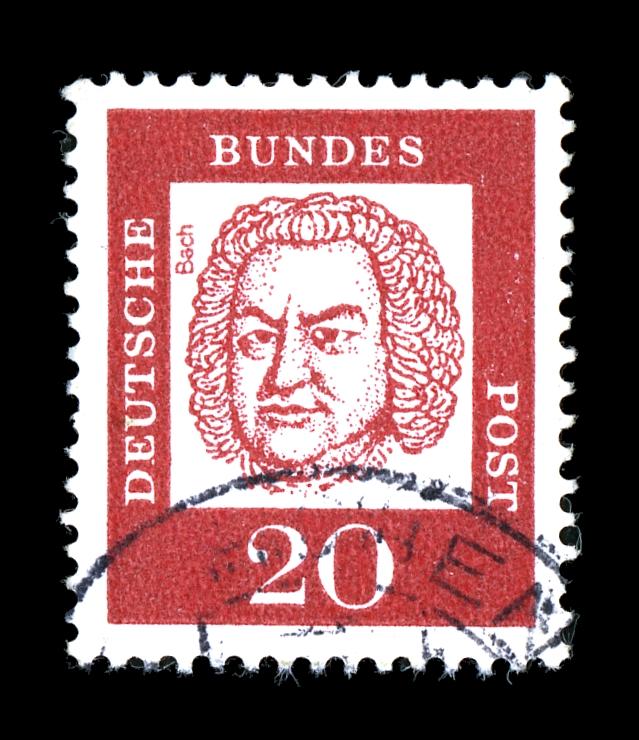 Sello postal de la República Federal de Alemania dedicado a Johann Sebastian Bach.