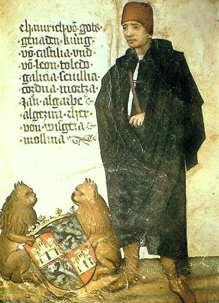 Enrique IV de Castilla (miniatura de un manuscrito del viajero alemán Jörg von Ehingen, circa 1455)