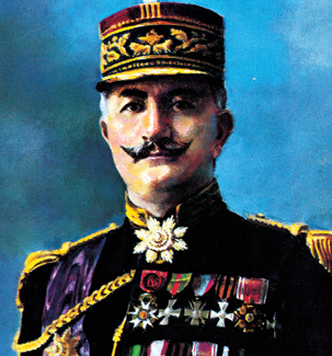 A general in full dress uniform with lots of medals