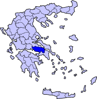 Location of Boeotia Prefecture in Greece