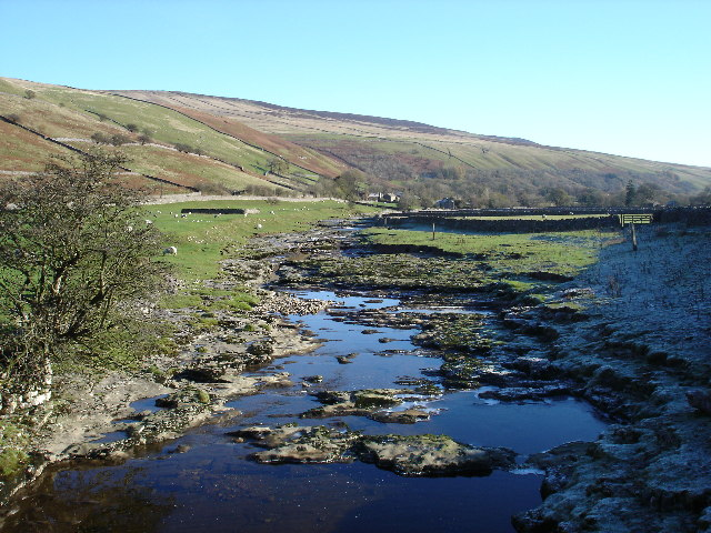 Icy pools in the River Skirfare on a bright November day - geograph.org.uk - 80417