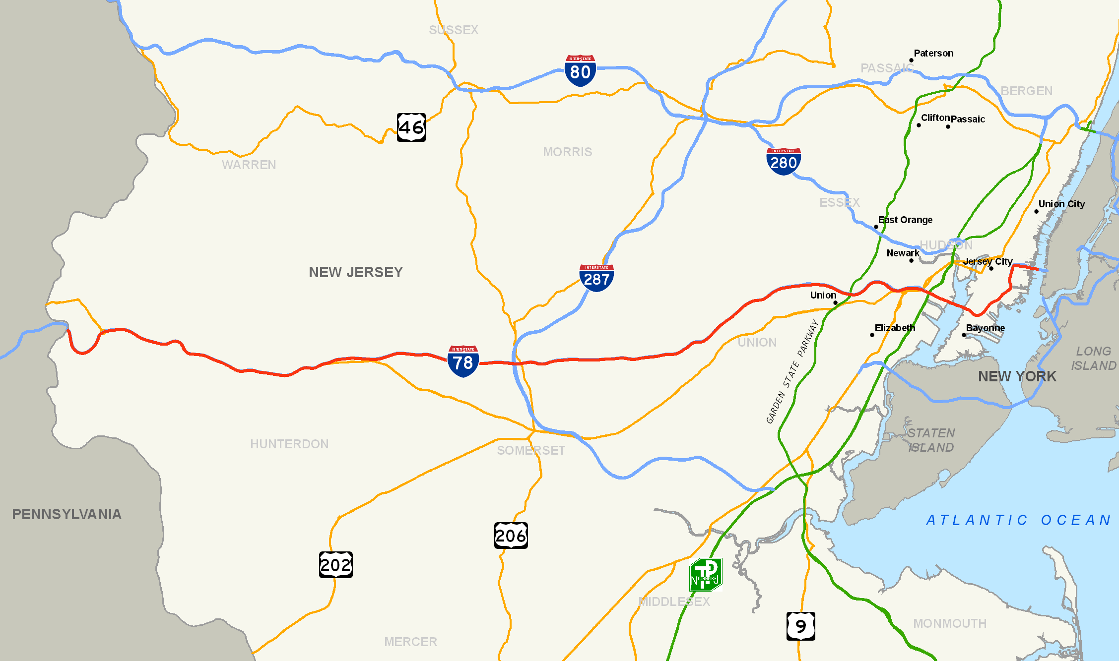 New Jersey State Route Network Map New Jersey Highways Map S - Us map major cities interstates