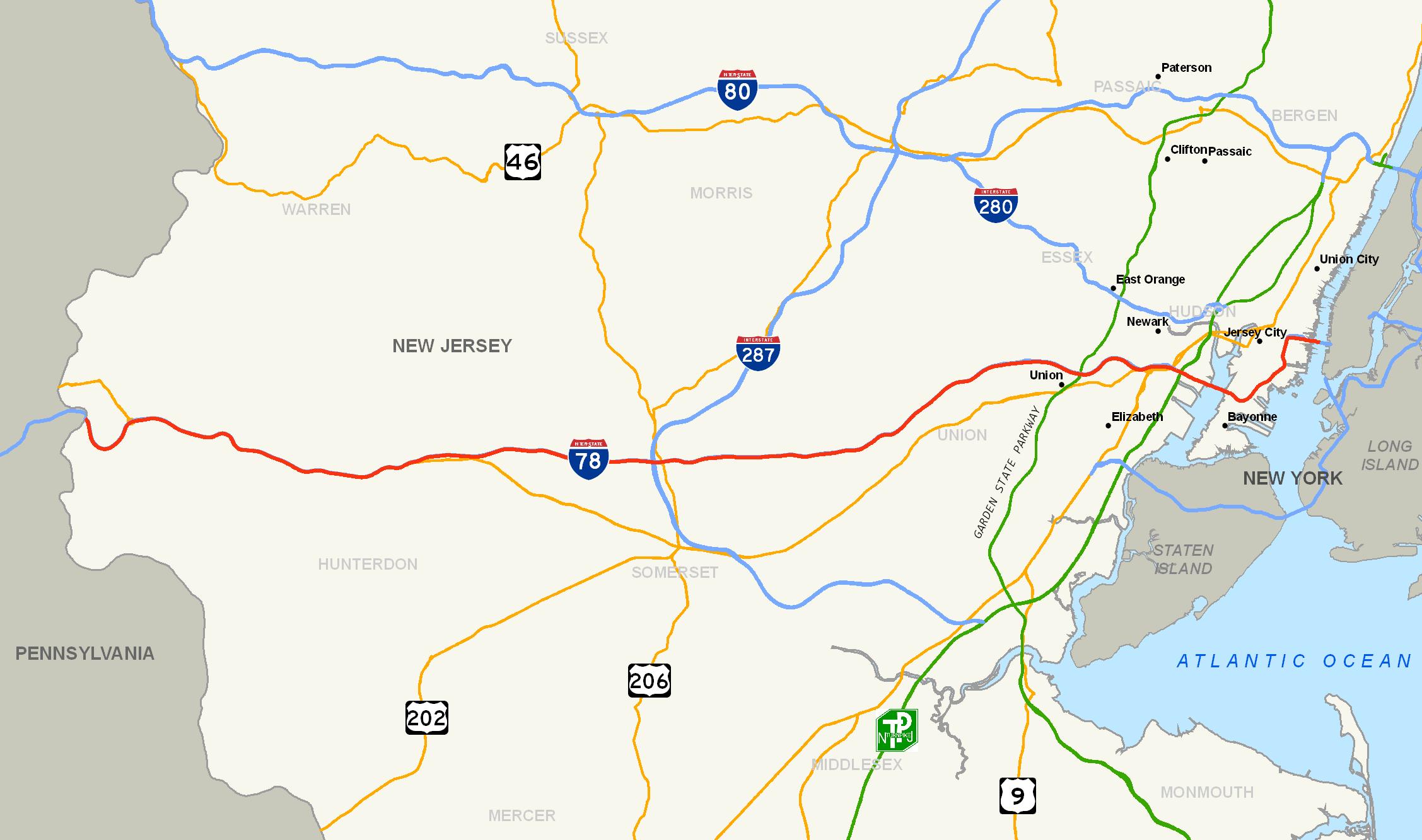 FileInterstate NJ Mappng Wikimedia Commons - New jersey road map