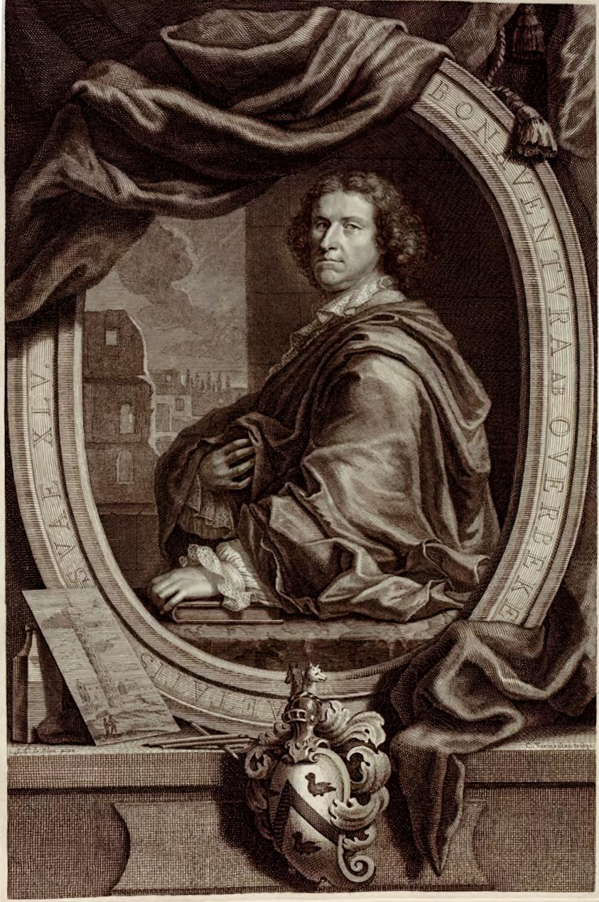 Portrait of Overbeek portrayed with one of his etchings in his ''Les restes de l'ancienne Rome'' in 1709, after a painting by [[Jacob Christoph Le Blon