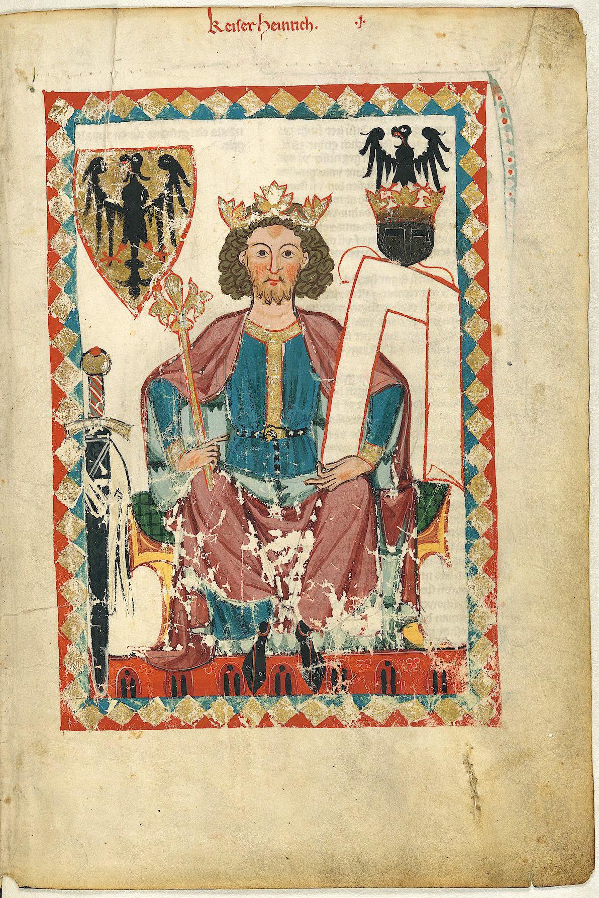 Kaiser HeinrichVI. im Codex Manesse mit dem Reichswappen (Im goldenen Schild ein schwarzer, rotbewehrter Adler, als Helmzier auf goldener Krone ebenfalls ein schwarzer, rotbewehrter Adler)