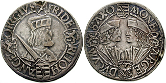 Guldengroschen of Saxony, c. 1508-1525. The obverse shows Johann's older brother, Frederick, while on the reverse, Johann is portrayed face to face with George, Duke of Saxony. Klappmutzentaler 64312.jpg