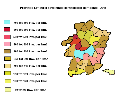 Provincie Limburg: bevolkingsdichtheid per gemeente