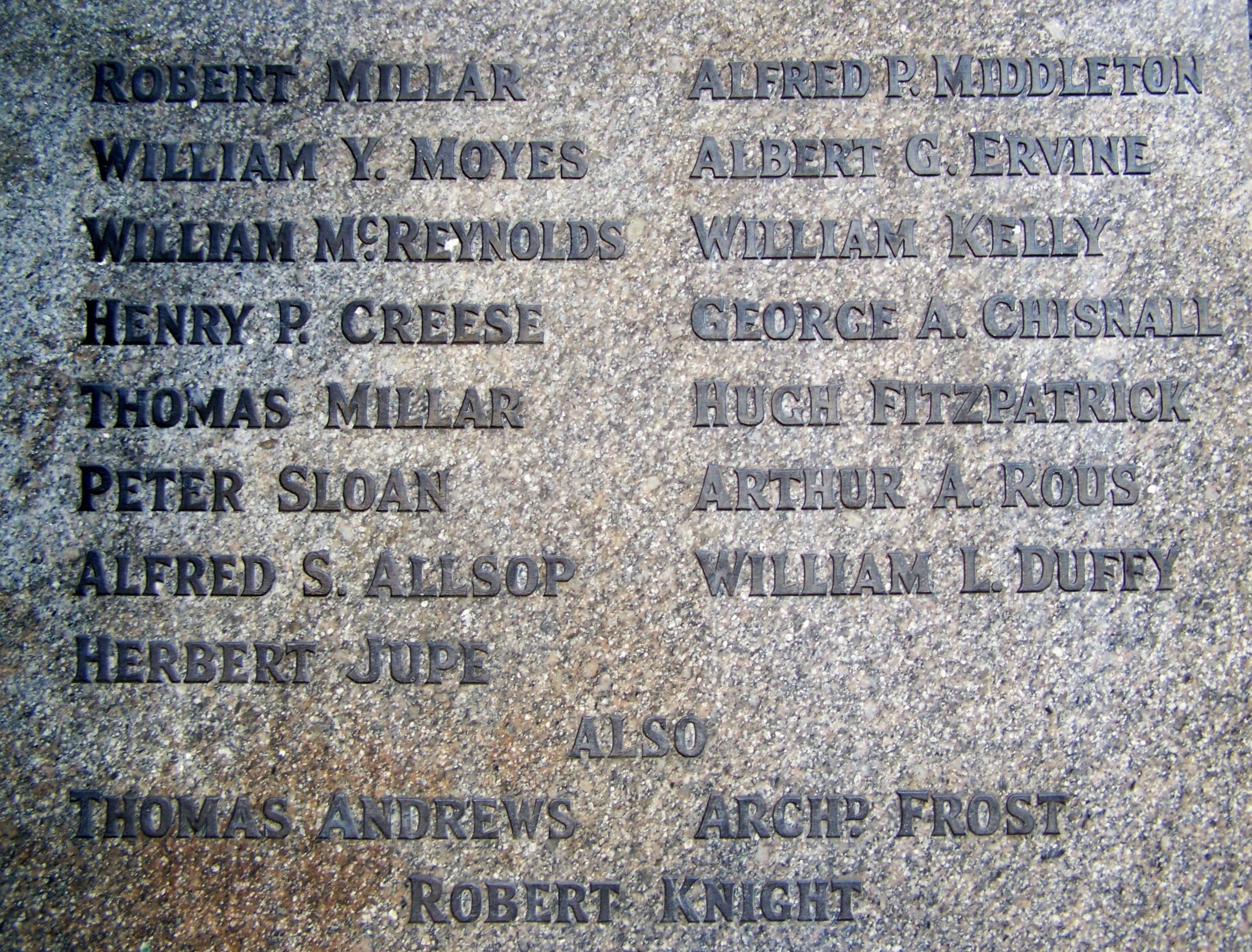 Titanic People Who Died List