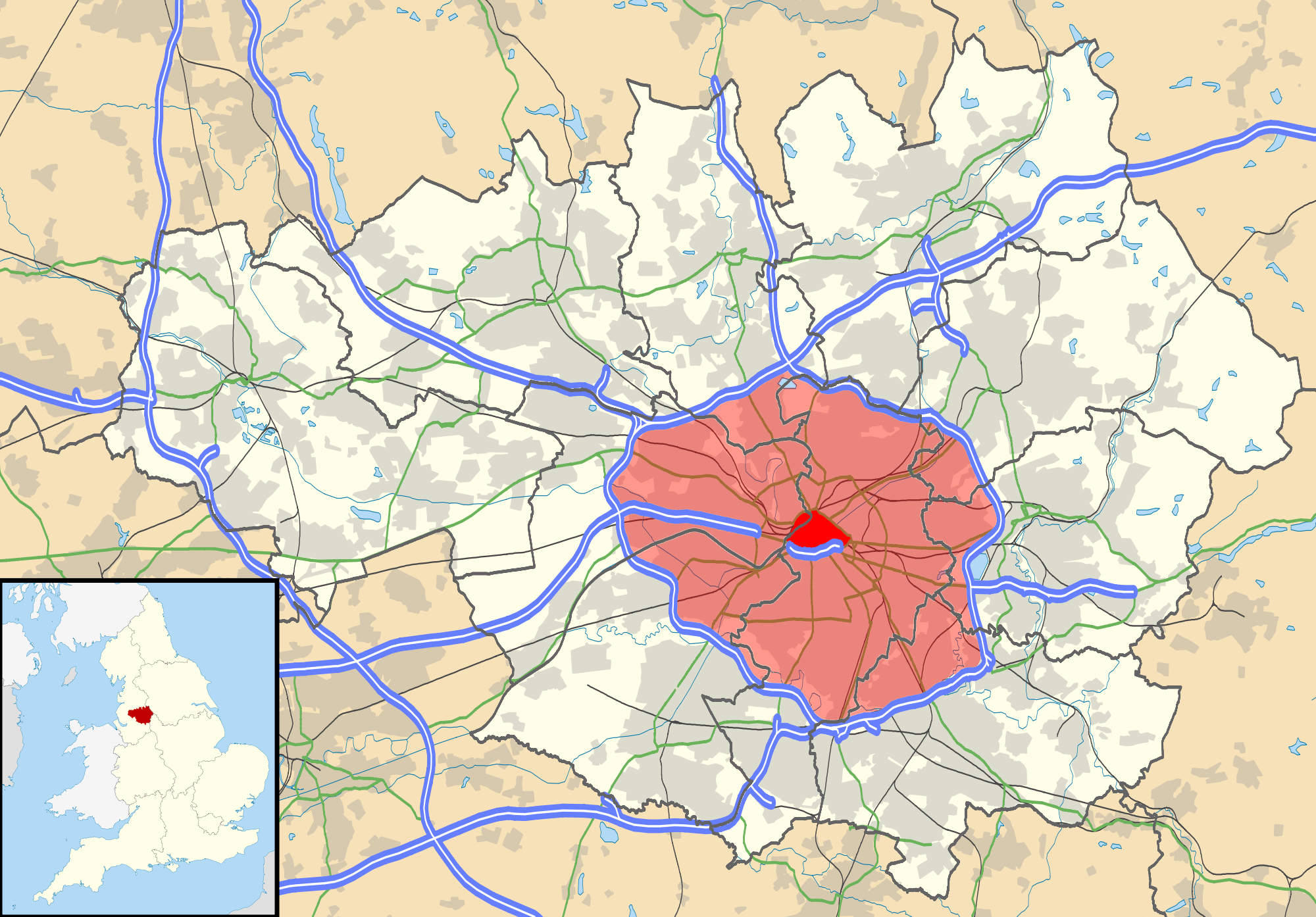 Proposed Manchester congestion charging zones