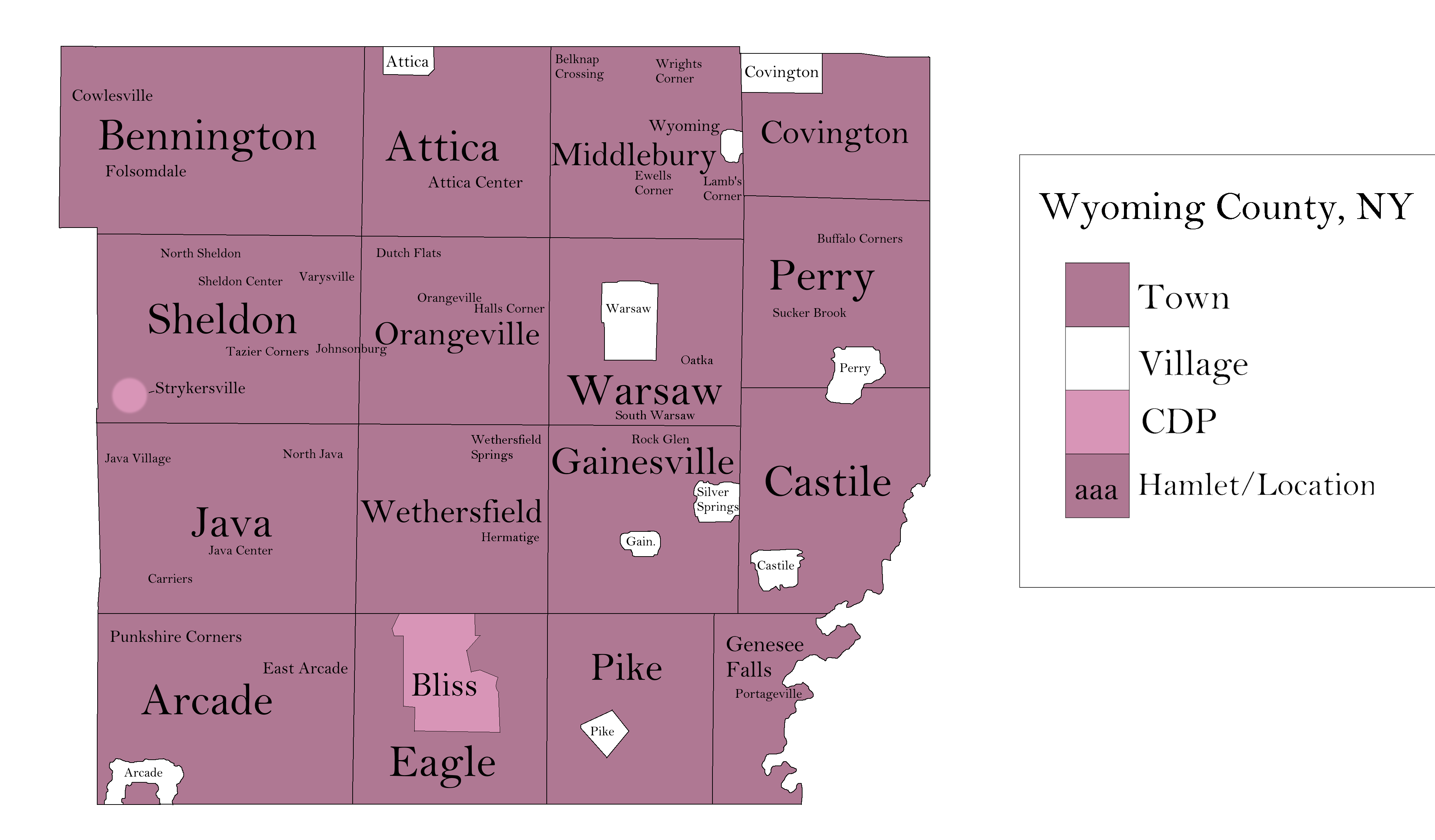 File Map Of Wyoming County New York Png Wikimedia Commons