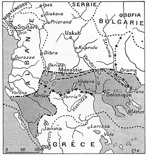 Greek claims in Epirus and Macedonia after the first Balkan war Maximal Greek claims in Epirus and Macedonia.png