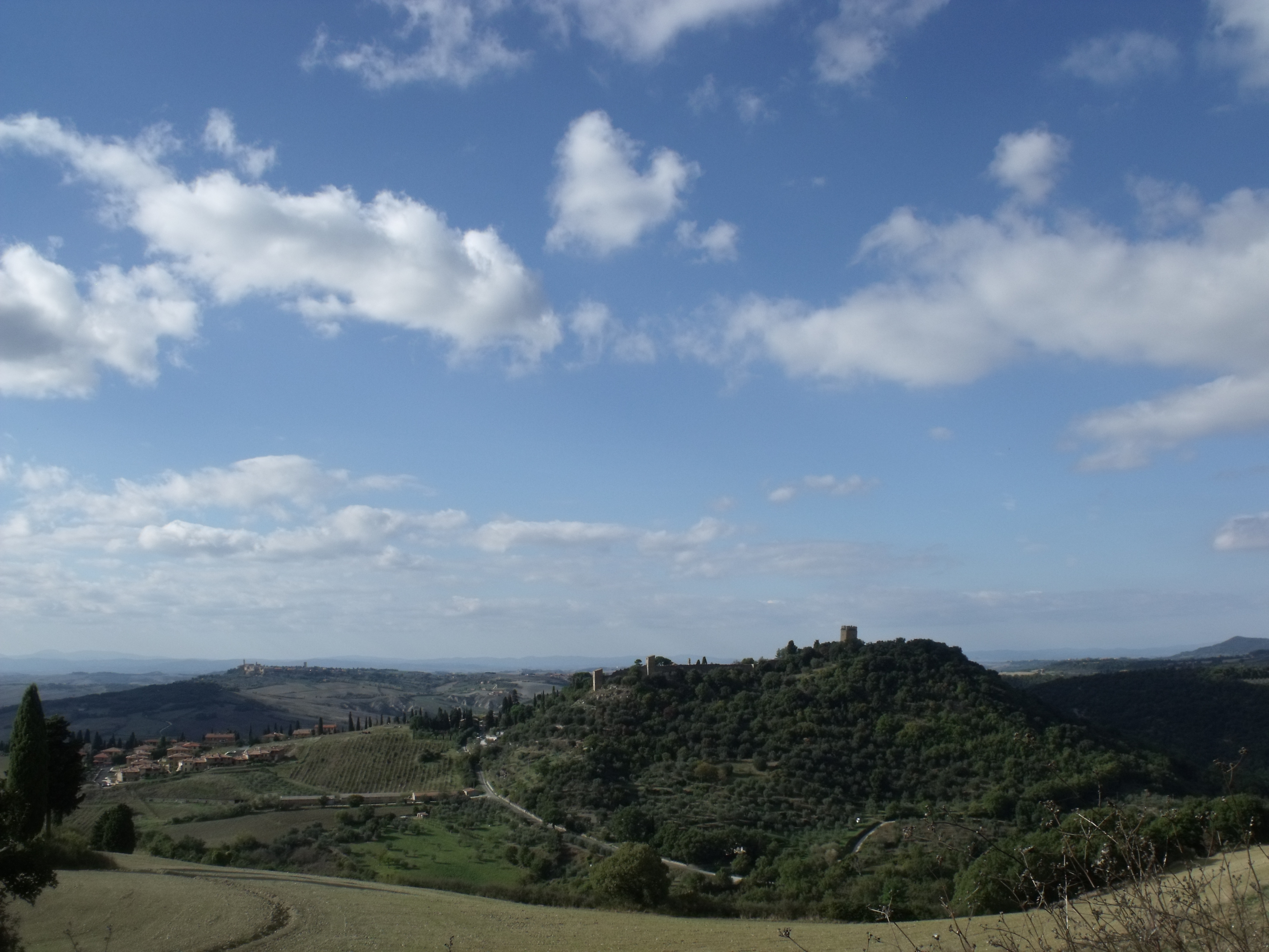Panorama of Monticchiello (hamlet of Pienza) from the south-east (in the background left side Pienza), Val d'Orcia