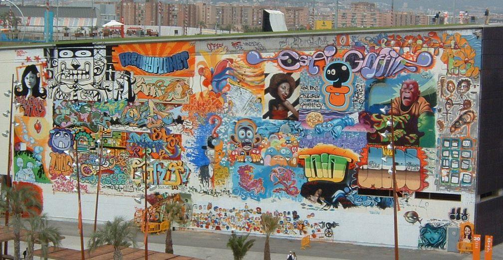 Muro pintado con un grafiti
