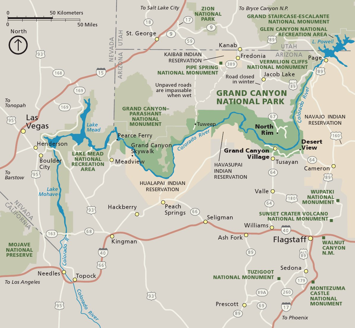 FileNPS Grandcanyonregionalmapjpg Wikimedia Commons - Las vegas grand canyon map
