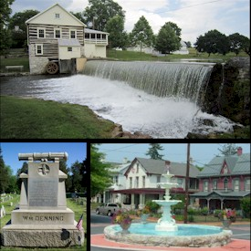 Top - Laughlin Mill, Bottom left - William Denning Monument, Bottom right - Newville Fountain Square