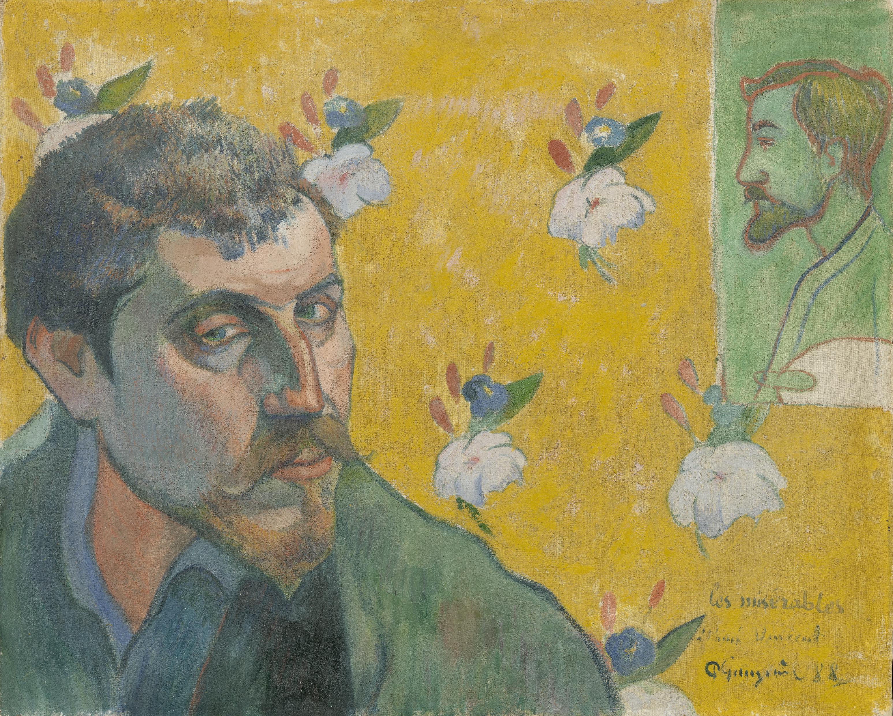 Autorretrato de Gauguin con el retrato de Bernard
