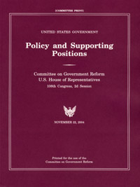 <i>United States Government Policy and Supporting Positions</i> U.S. government publication