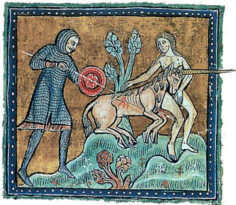 Chasse à la licorne sur The Rochester Bestiary, XIIIe