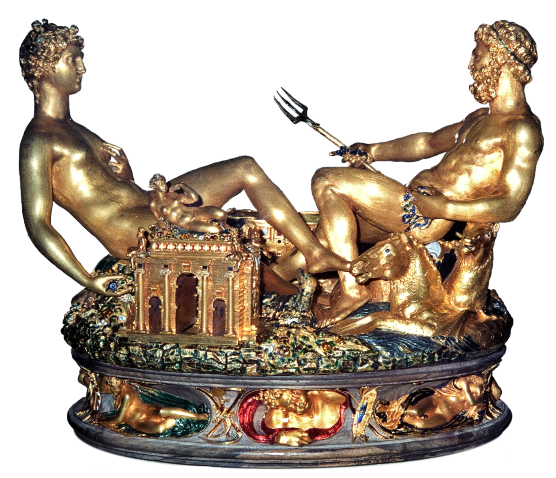 Cellini's Salt Cellar, Made For Francis I Of France, 1540–1543 Gold,  Partly Enameled, With An Ebony Base Depicts Earth And Sea Personified