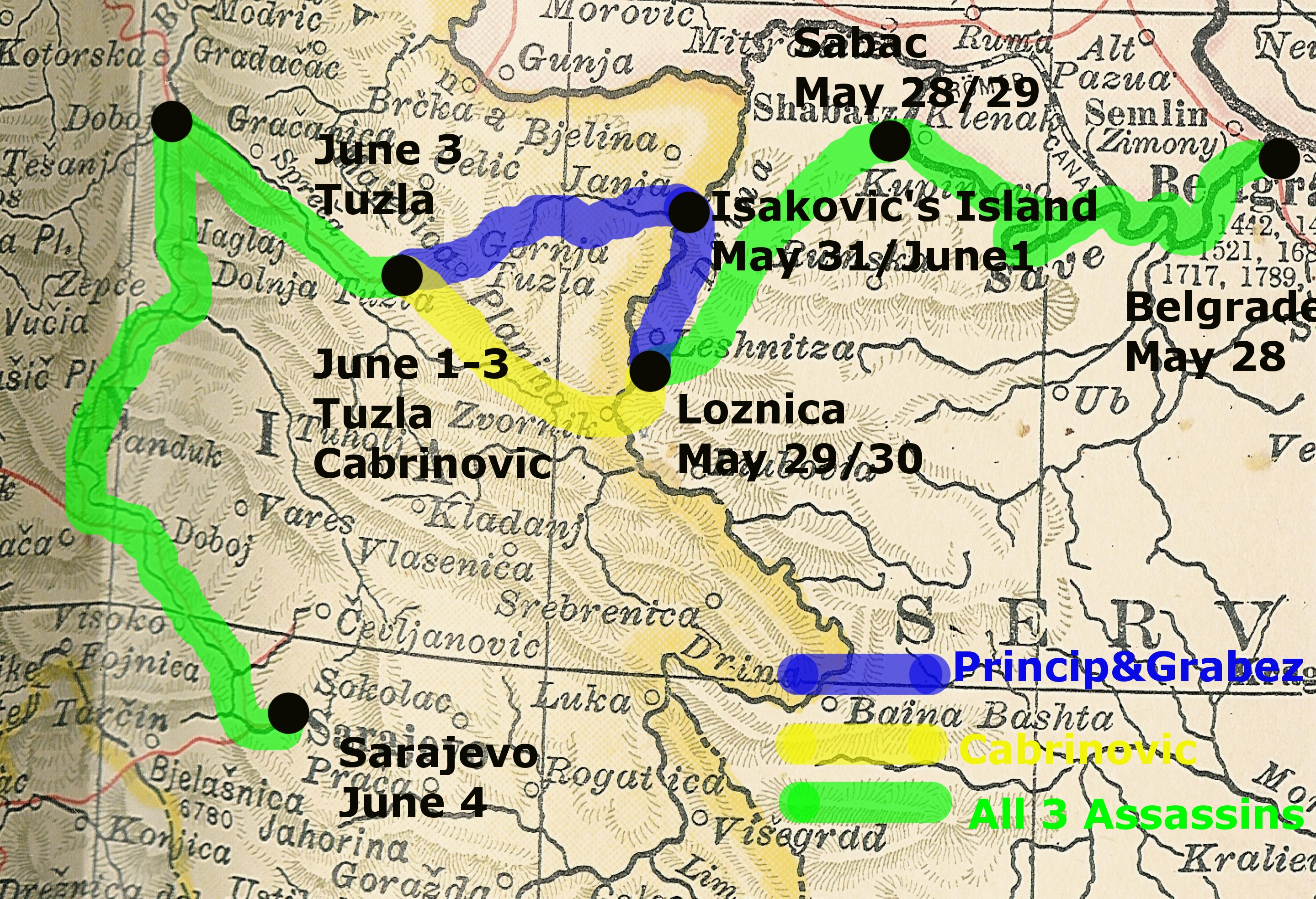 Map showing the route of the assassins to Sarajevo, May-June 1914
