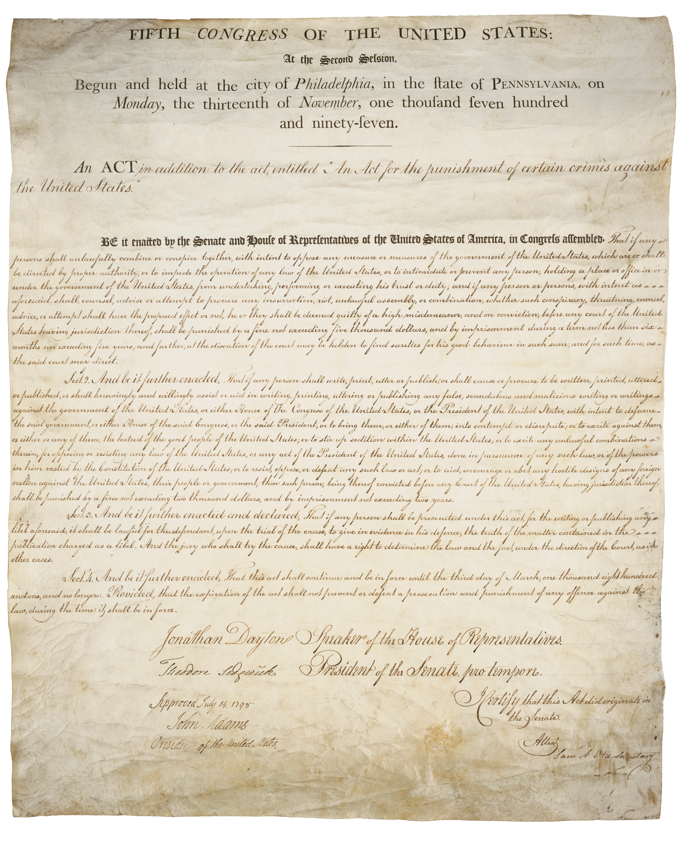a history of the alien and sedition acts in the united states The french revolution had an impact on the politics and laws of the united states it was also a primary motivator behind the passage of the alien and sedition acts.