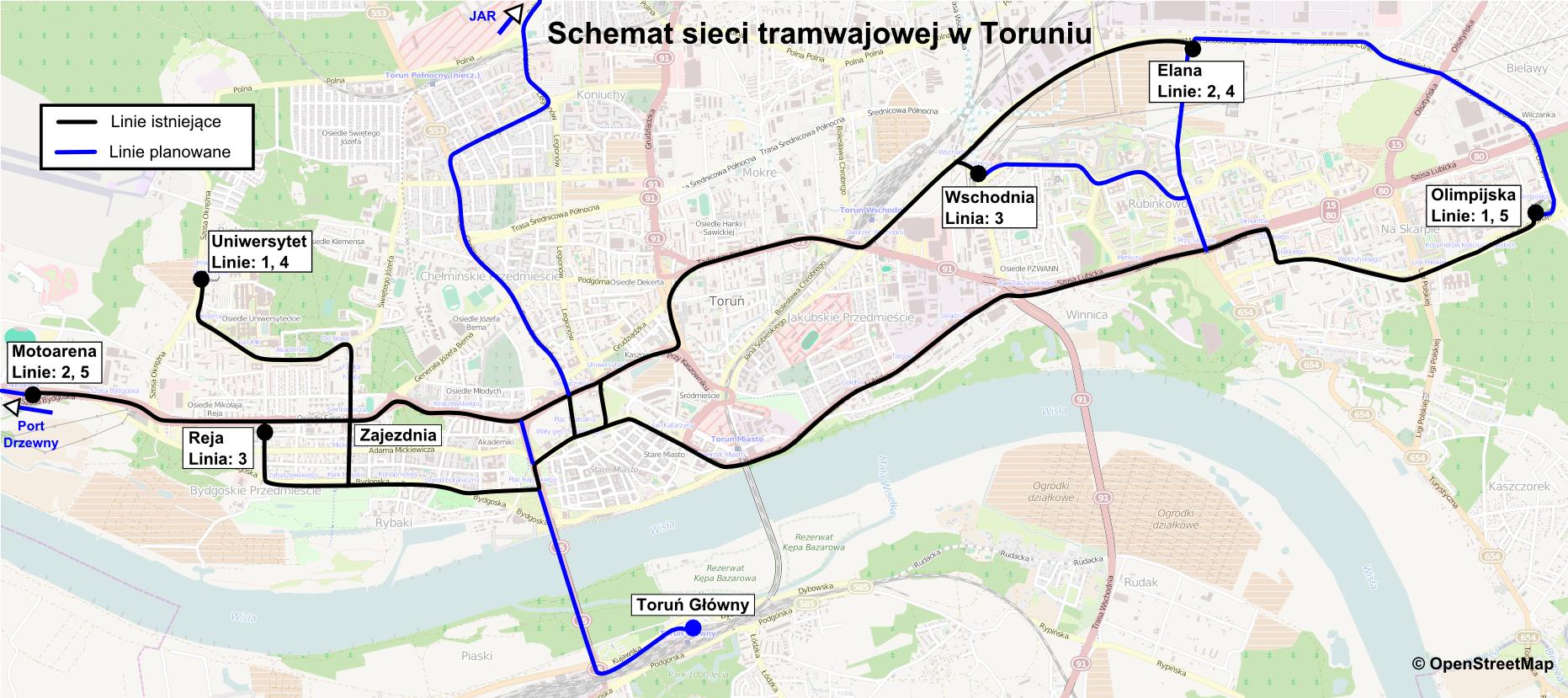 Siec tramwajowa w Toruniu, linie planowane.png