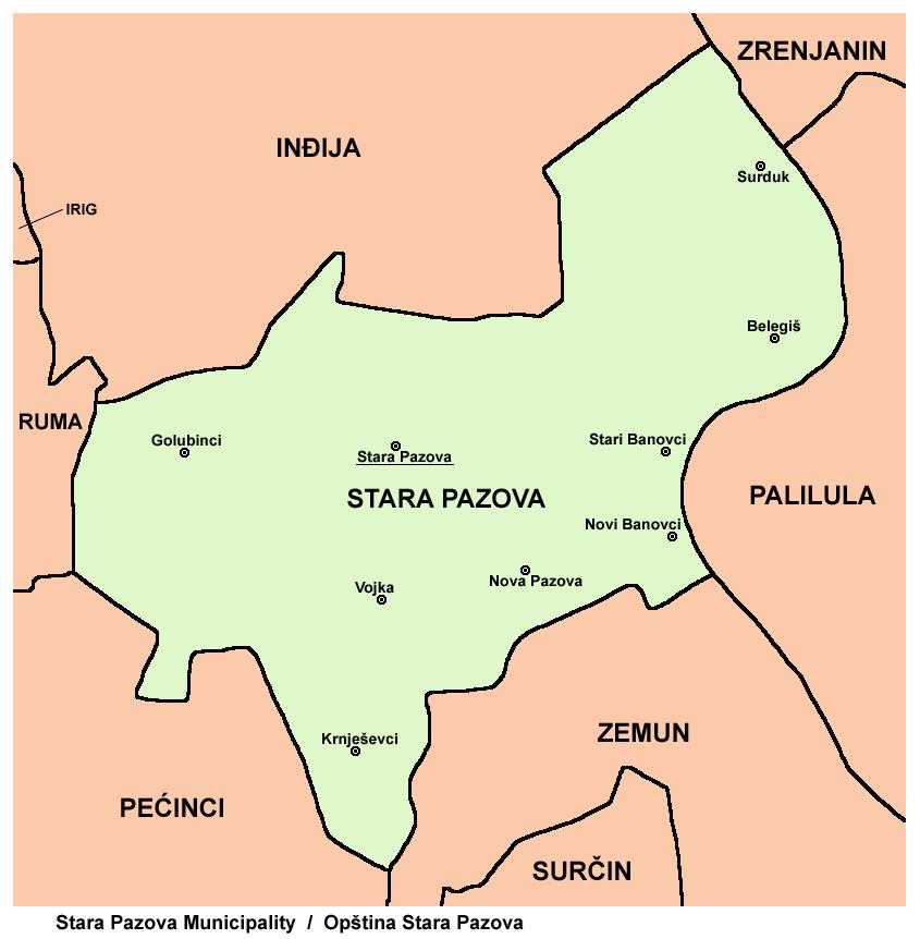 nova pazova mapa srbije Opština Stara Pazova   Wikiwand nova pazova mapa srbije