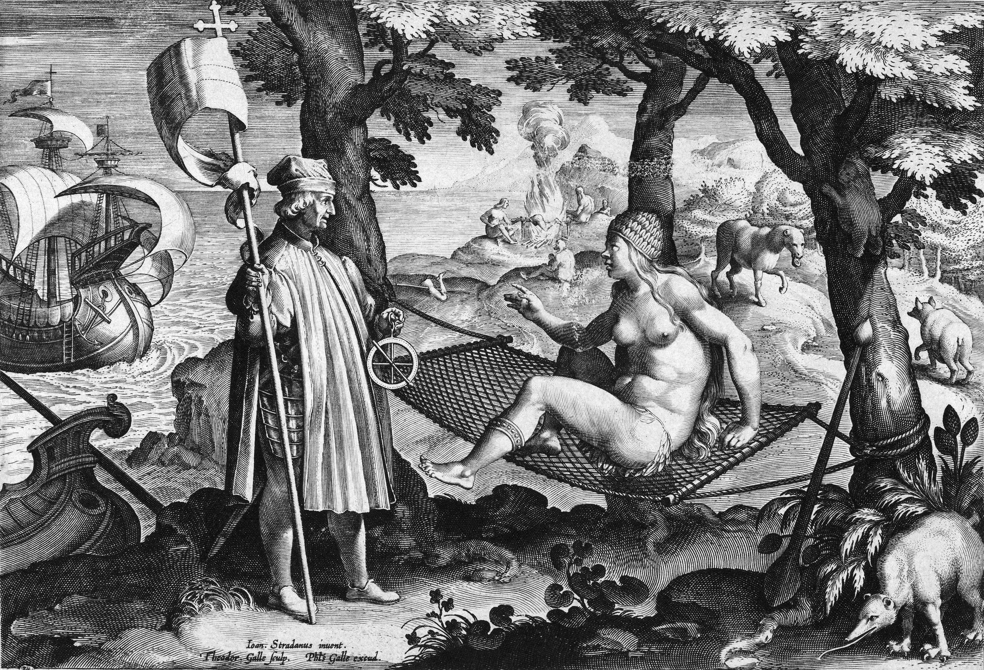 Allegory of the New World: Amerigo Vespucci awakens the sleeping America