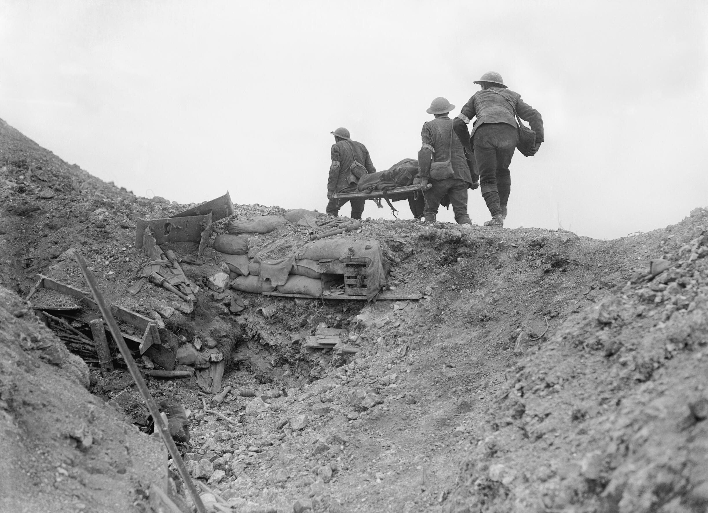 British stretcher bearers recovering a wounded soldier from a captured German trench during the Battle of Thiepval Ridge, late September 1916
