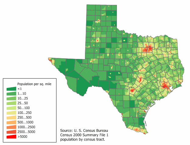 Texas population density map. - Texas