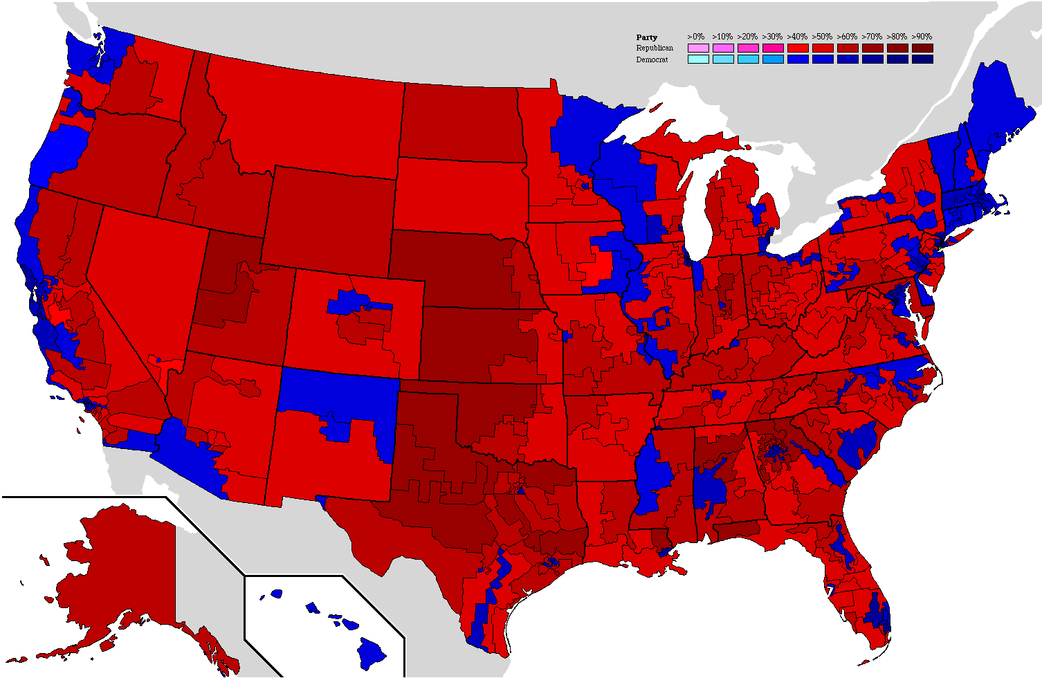 File The 2004 Presidential Election In The United States Results By Congressional District Png Wikipedia