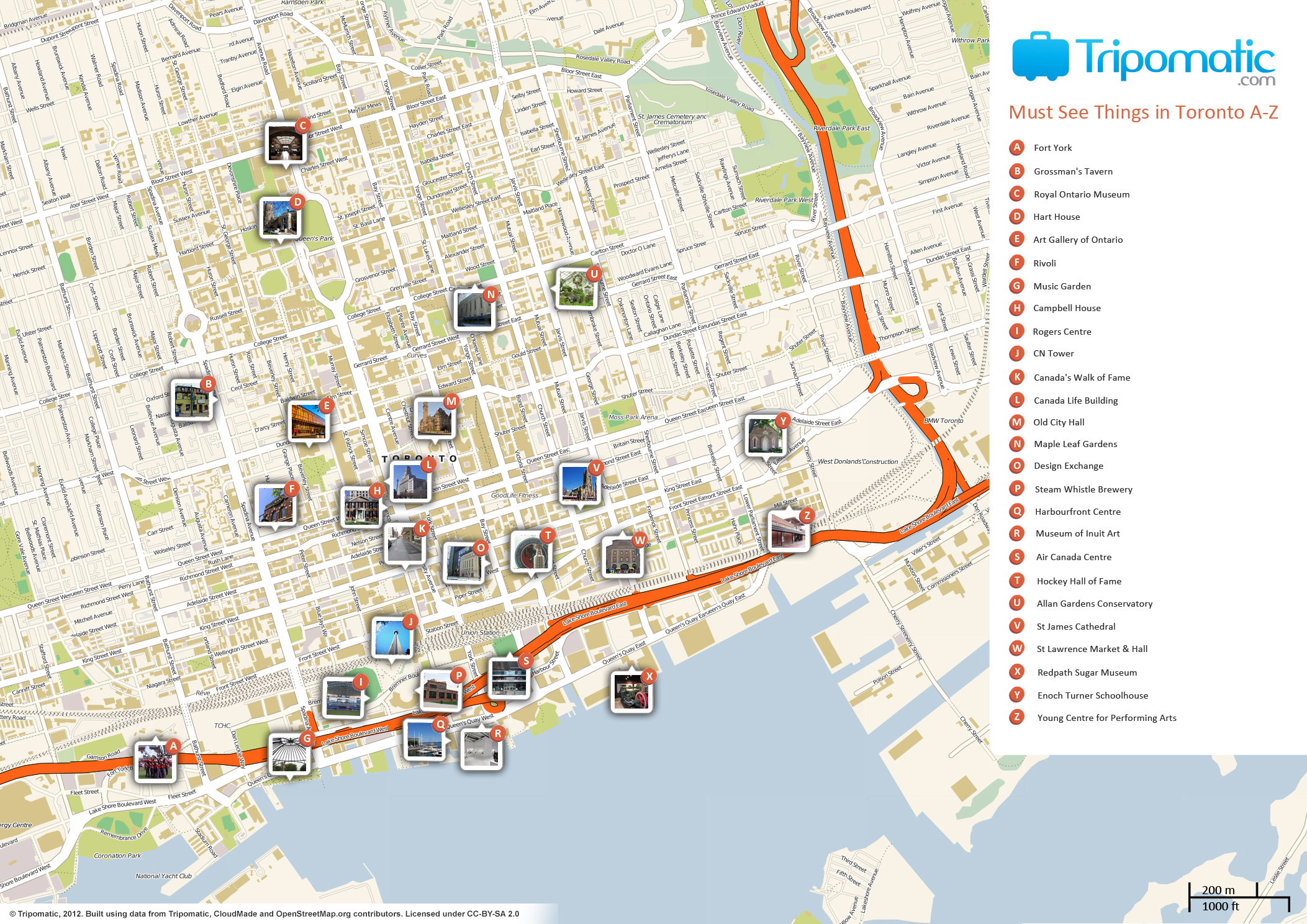 Travel Maps Toronto – Tourist Attractions Map In Canada