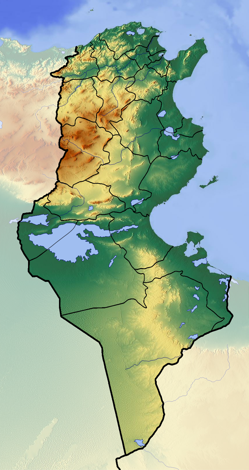 carte geo Tunisian_Republic_location_map_Topographic