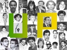 Poster with the faces of some of the victims of the UP political genocide.