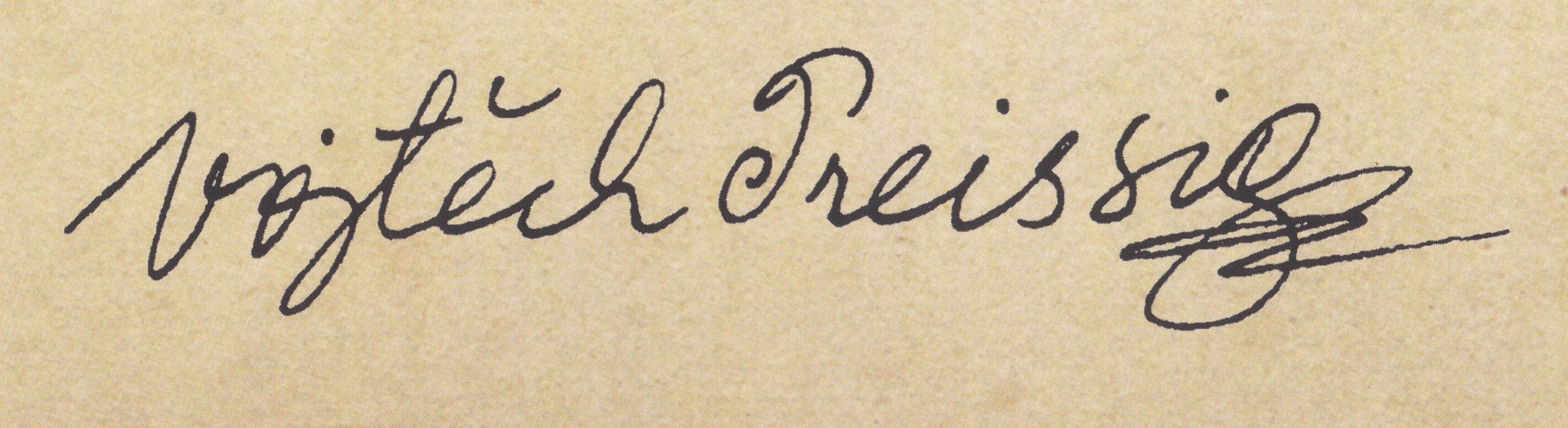 Commons Public Domain Mark 1.0falsefalse English Full signature of Czech graphic artist, typographer, painter and illustrator Vojtěch Preissig (* 1873 - † 1944)
