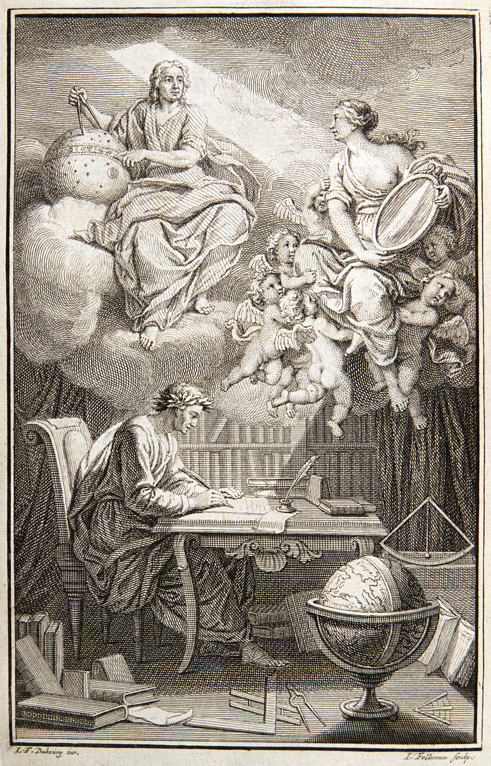 """The frontispiece of the """"Elements of the philosophy of Newton"""", Voltaire, 1738."""