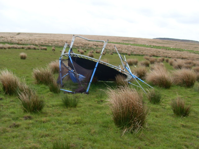 Wrecked trampoline - geograph.org.uk - 1310754.jpg English: Wrecked trampoline A victim of the weather. Date 17 May 2009 Source From geograph