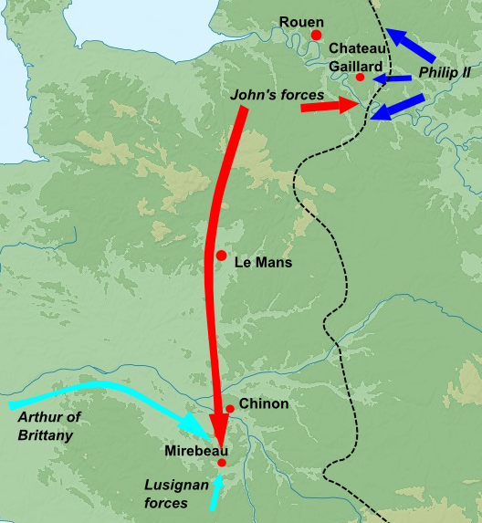 John's successful 1202 campaign, which culminated in the victory of the battle of Mirebeau; red arrows indicate the movement of John's forces, blue those of Philip II's forces and light blue those of Philip's Breton and Lusignan allies