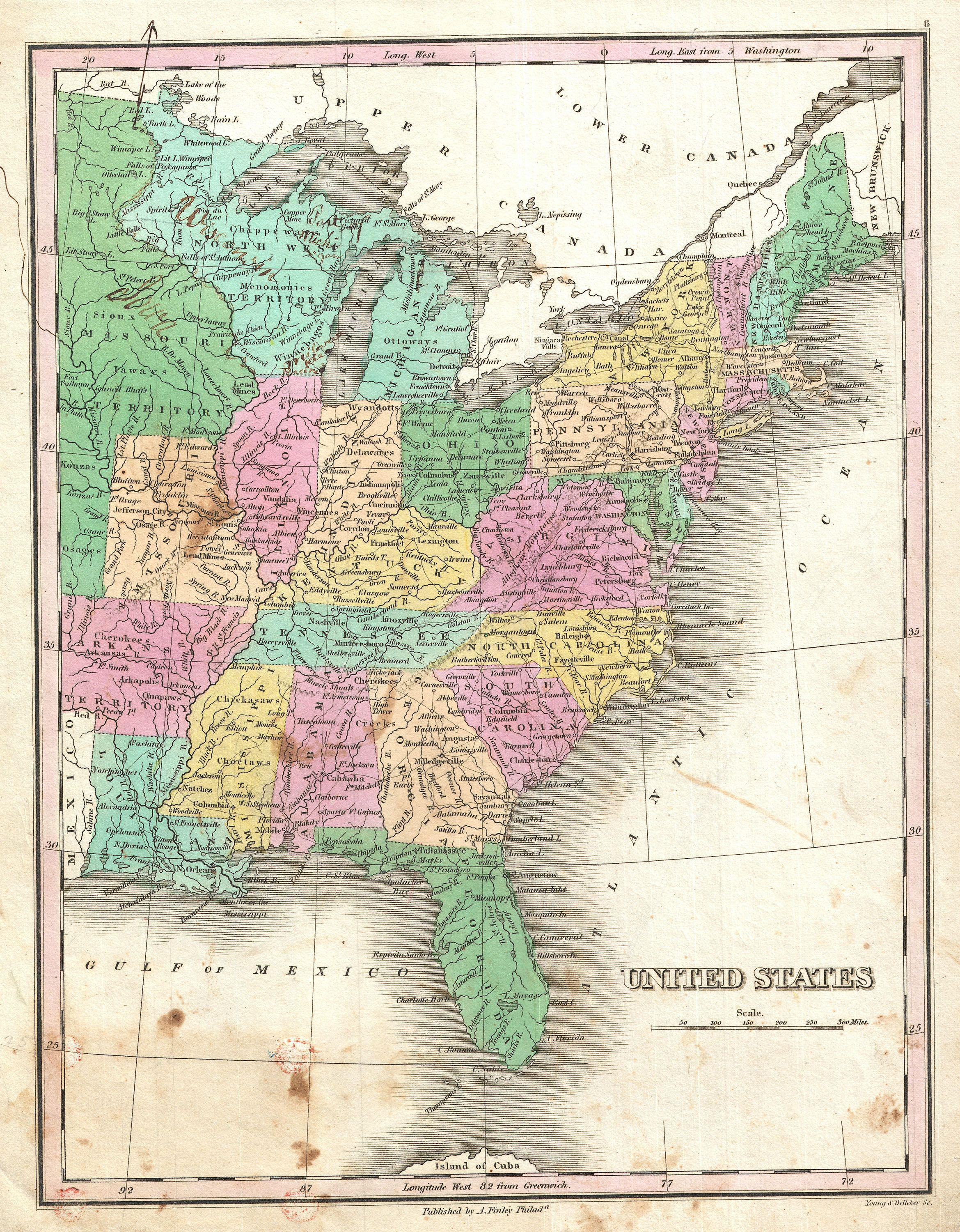 Datei:1827 Finley Map of the United States - Geographicus ...