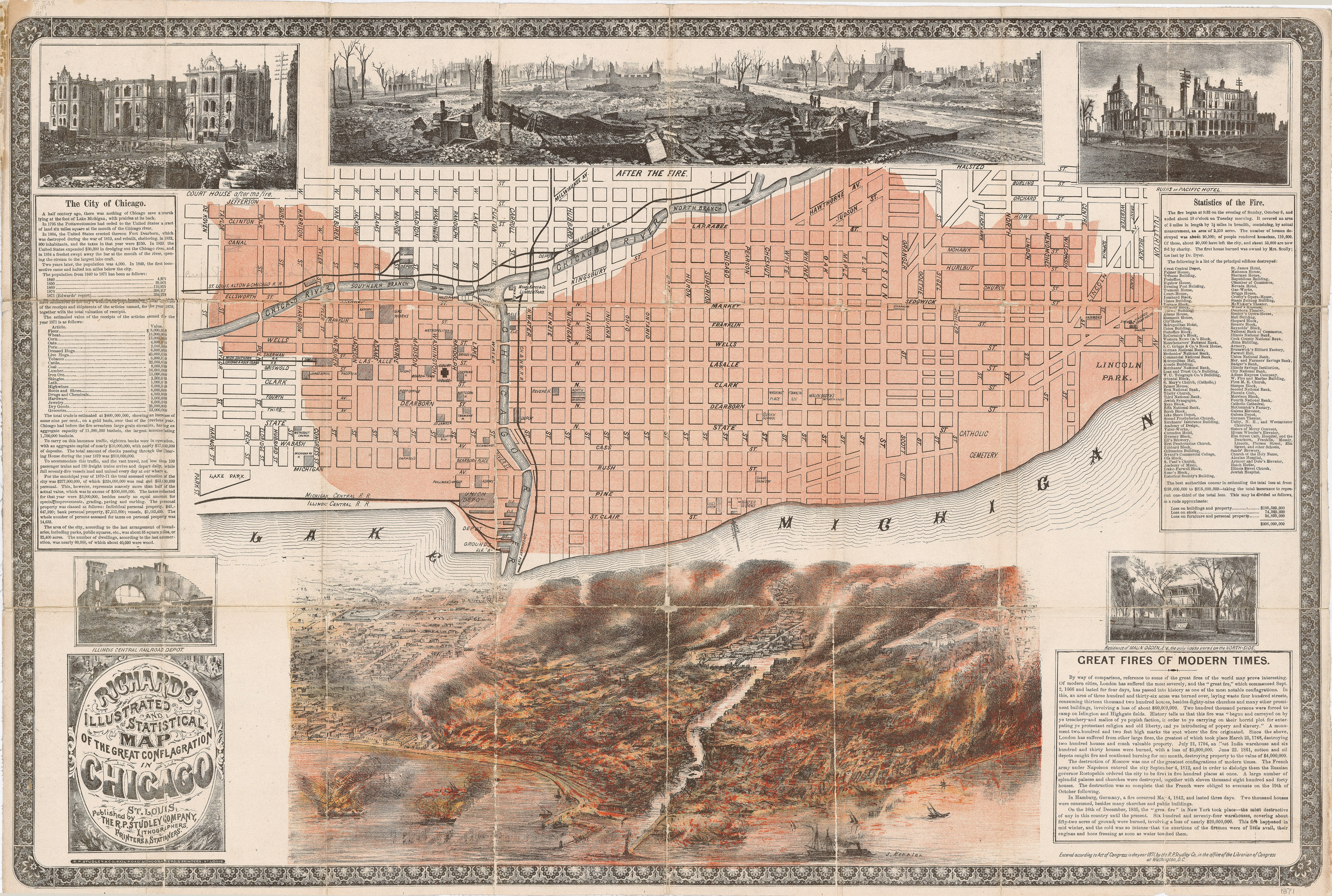 Richardson S Map Of The Great Chicago Fire 1871 7227x4864 Mapporn