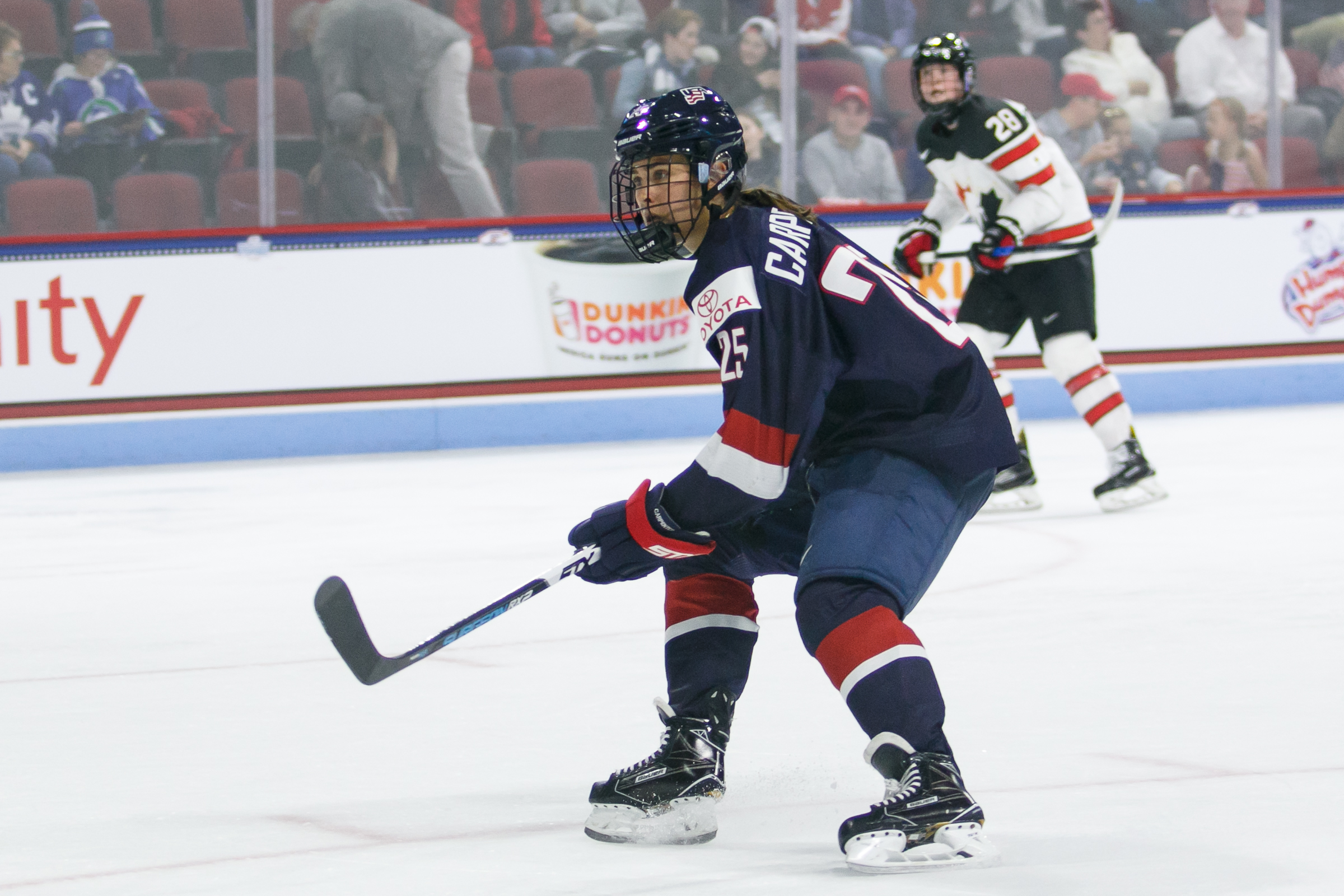 Alex Carpenter playing for Team USA in 2017