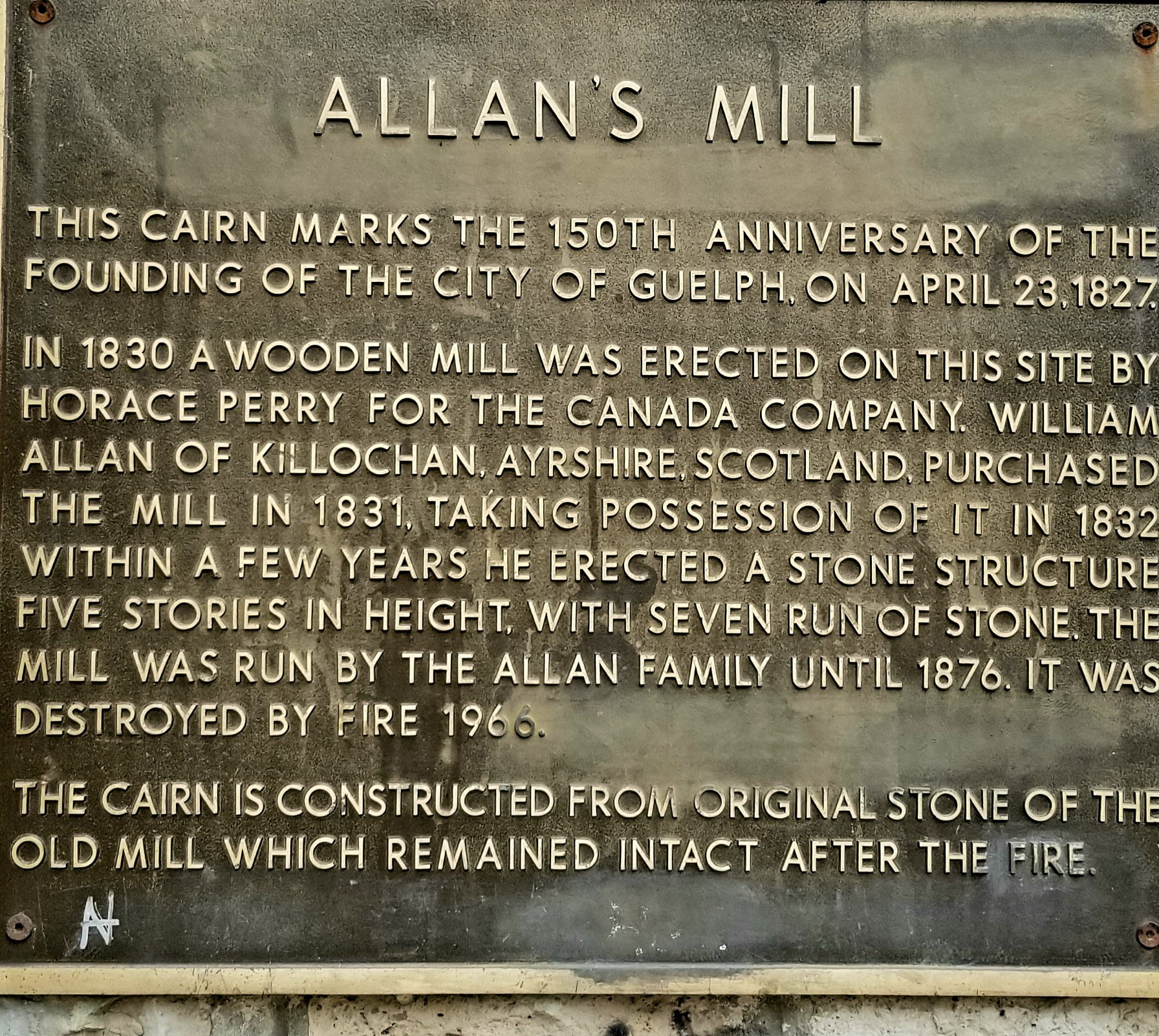 File:Allan's mill, Guelph, historic plaque.jpg - Wikimedia Commons