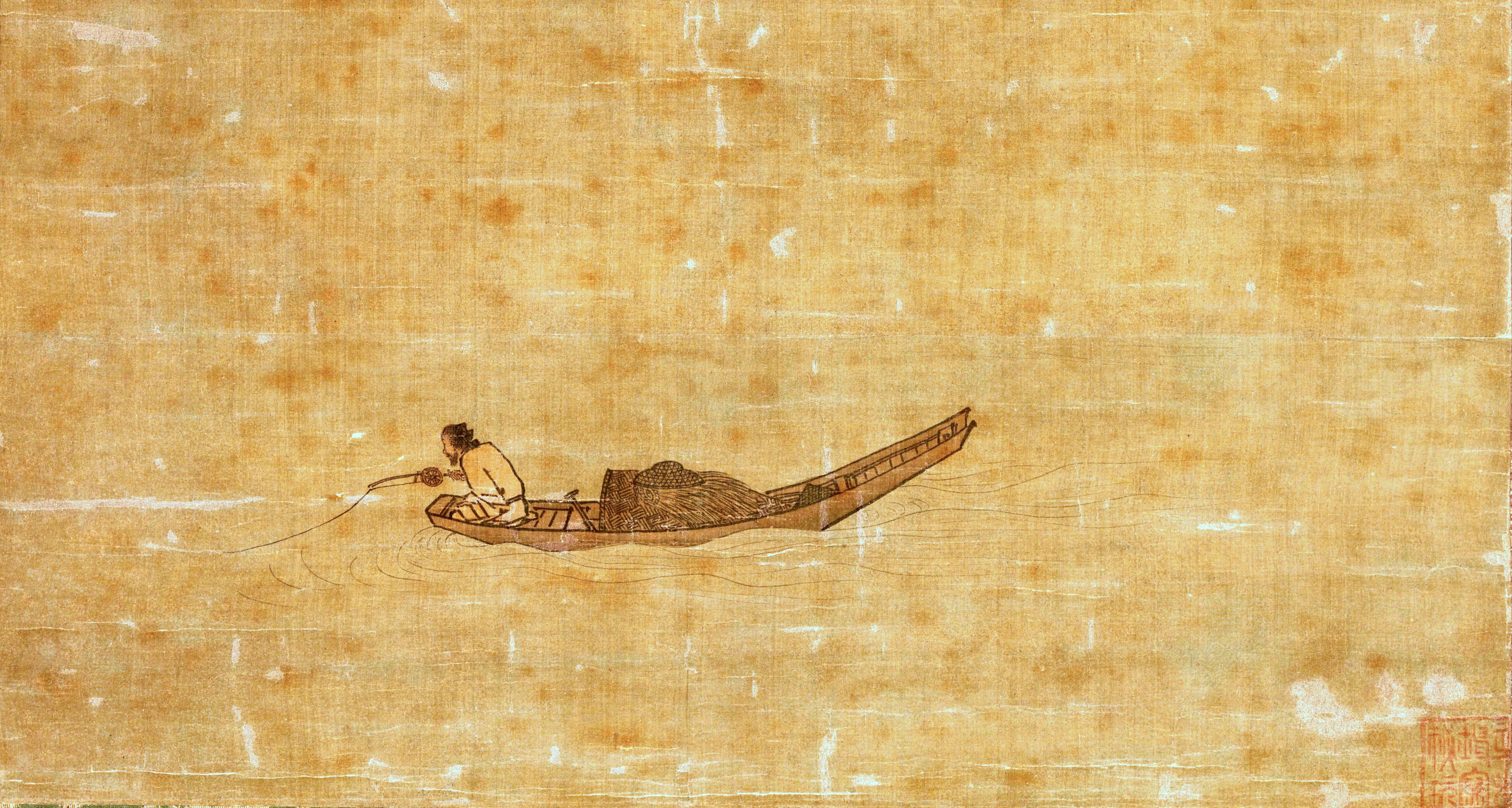 Stimuli Ma Yuan Angler On A Wintry Lake Song Dynasty C