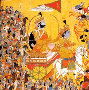 Arjuna and His Charioteer Krishna Confront Karna, crop