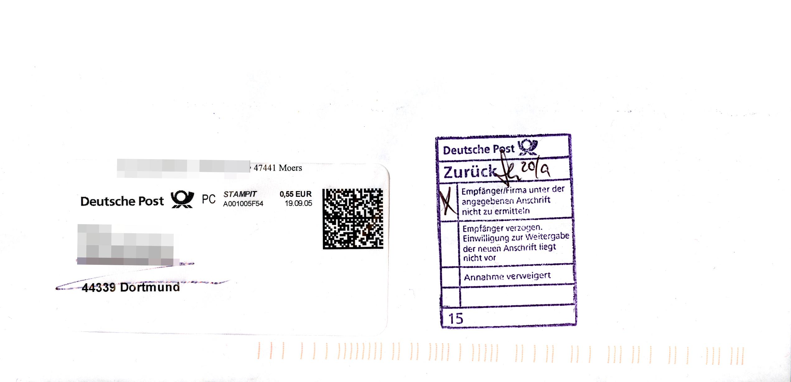 File:Briefsendung Deutsche Post, Stampit, unzustellbar zurück - 2005 ...