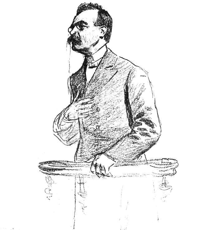 Jules Crépieux-Jamin testifying at the thirteenth session of the Zola Trial. Illustration by [[Louis Rémy Sabattier