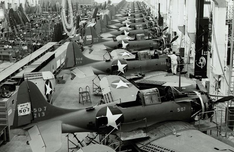 SBD Dauntless dive bombers being built in the Douglas Aircraft Factory, El Segundo.